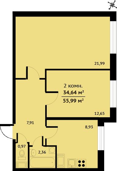 Планировка Двухкомнатная квартира площадью 54.95 кв.м в ЖК «Город мастеров»