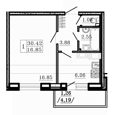 Планировка Однокомнатная квартира площадью 32.52 кв.м в ЖК «Город мастеров»
