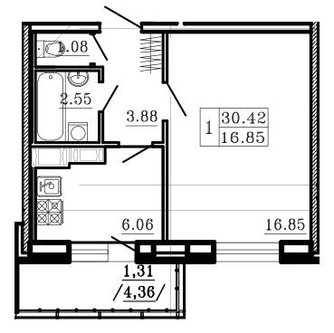 Планировка Однокомнатная квартира площадью 32.6 кв.м в ЖК «Город мастеров»